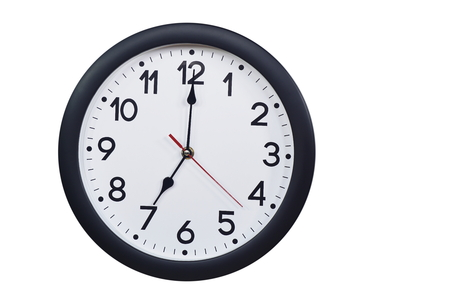 Time concept with black clock at seven