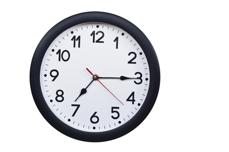 Time concept with black clock at a quarter past seven
