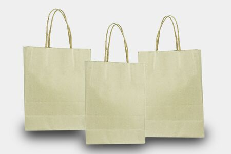 brown paper bags on a white background Standard-Bild