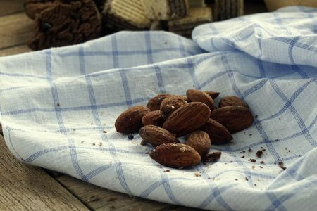 Almond on a blue handkerchief