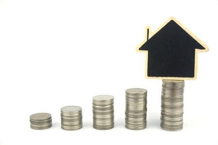 Coins and houses on a white background