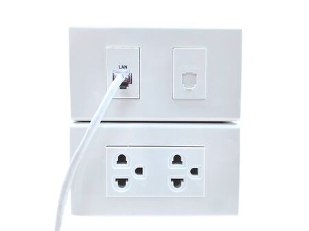 Sockets and LAN connectors on white background Standard-Bild