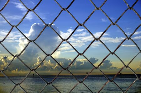 Decorative wire mesh of sky background