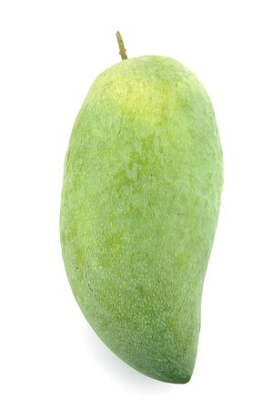 Raw mangoes in a white background