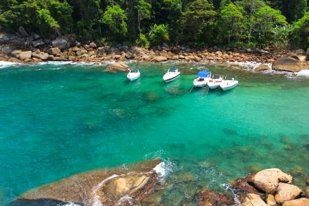 The cove of hidden beach Caxadaço, Ilha Grande, Brazil