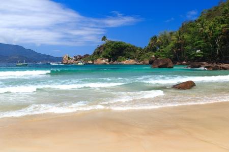 Waves on beach Aventueiro of island Ilha Grande, Brazil