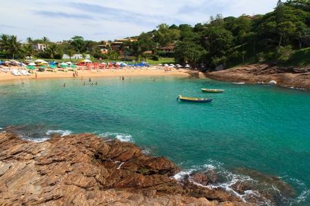 Transparent water of beach Ferradurinha in Buzios, Brazil