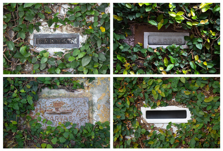 Collage with postboxes with ivy on stone wall in Brazil photo