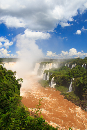 Panoramic view of Devil s throat of Iguazu falls, Brazil, Argentina photo