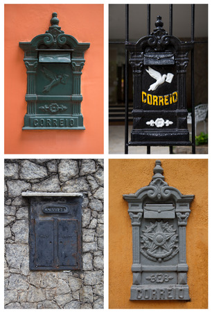 Collage with old postboxes on walls and grade in Brazil photo