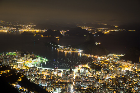 Spectacular night view of Sugarloaf in Rio de Janeiro, Brazil photo