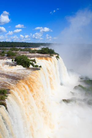 Devil s throat of Iguazu falls close, Brazil photo