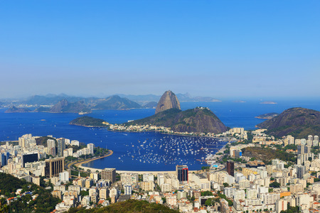 without clouds: Background Sugarloaf mountain sky without clouds Guanabara bay, Rio de Janeiro, Brazil