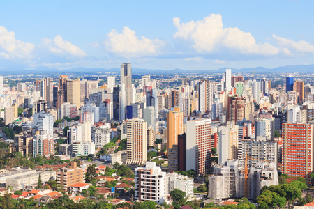 Panoramic view of city center, buildings, hotels from tv tower, Curitiba, Parana, Brazil 免版税图像 - 36474178