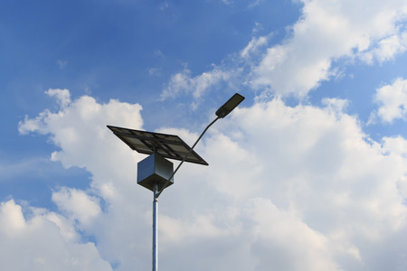energy use: Closeup of Solar panel on electric pole, use of Solar energy for lightning of highway, Rio de Janeiro, Brazil