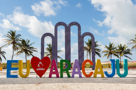 summer olympics: ARACAJU, SEBRAZIL - JUNE 24: Letters I love Aracaju on famous beach Atalaia on June 24, 2016 in Aracaju. Aracaju is capital of Sergipe, hosts 7 teams for Summer Olympics