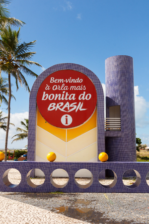 summer olympics: ARACAJU, SEBRAZIL - JUNE 24: Information desk on famous beach Atalaia on June 24, 2016 in Aracaju. Aracaju is capital of Sergipe, hosts 7 teams for Summer Olympics