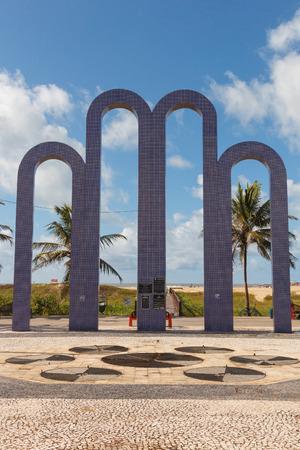 summer olympics: ARACAJU, SEBRAZIL - JUNE 24: Archway to famous beach Atalaia on June 24, 2016 in Aracaju. Aracaju is capital of Sergipe, hosts 7 teams for Summer Olympics Editorial