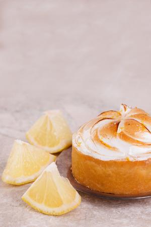 Lemon tart pie with copy space. Selective focus Stock Photo