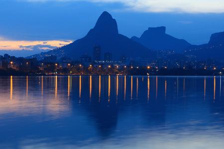 Night Lagoon Rodrigo de Freitas (Lagoa), mountain Vidigal, Stone of Gavea, Rio de Janeiro, Brazil