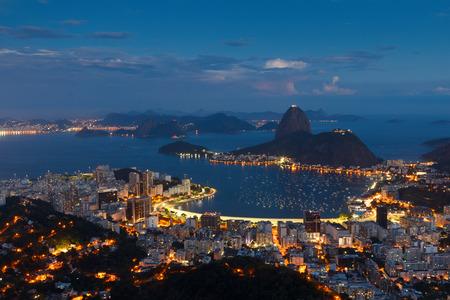 marta: Mountain Sugarloaf and Guanabara bay from viewpoint dona Marta, night view, Rio de Janeiro, Brazil