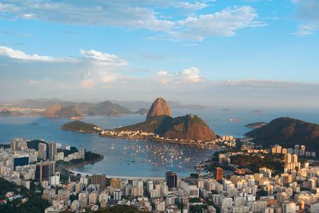marta: Mountain Sugarloaf and Guanabara bay from viewpoint dona Marta,  before sunset, Rio de Janeiro, Brazil