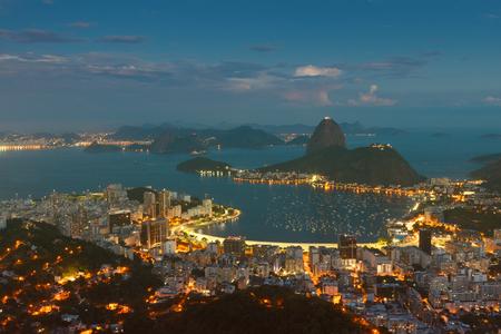 marta: Mountain Sugarloaf and Guanabara bay from viewpoint dona Marta, night view, Rio de Janeiro, Brazil. Toning effect