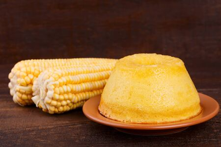 Brazilian sweet dessert corn cake. Selective focus