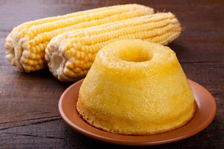 Brazilian sweet dessert corn cake. Selective focus 免版税图像 - 145164422