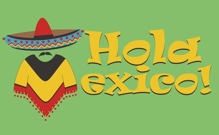 poncho: Vector inscription - Hello Mexico. The letter M in the form of a Mexican in sombrero and poncho