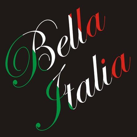 italia: Vector inscription - Bella Italia (beautiful Italy) in colors of the Italian flag