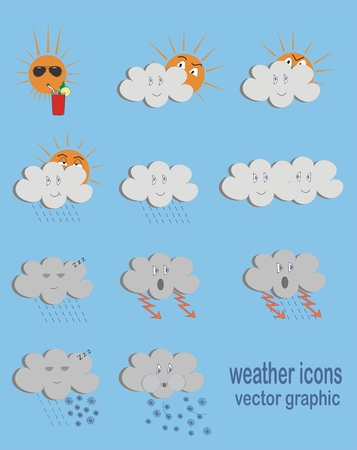 is interesting: Funny interesting weather icons, vector graphic Illustration