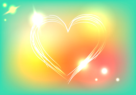 confess: Beautiful heart on colorful background with neon lights, vector illustration