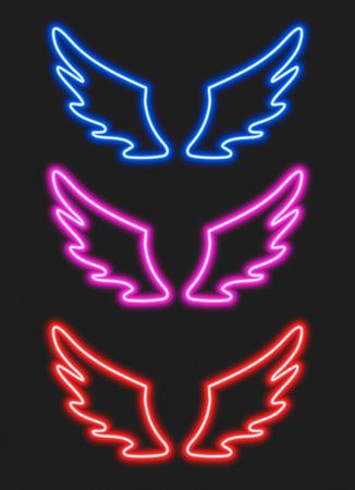 Set avec des ailes de néon bleu, violet et rouge pour votre design Vecteurs