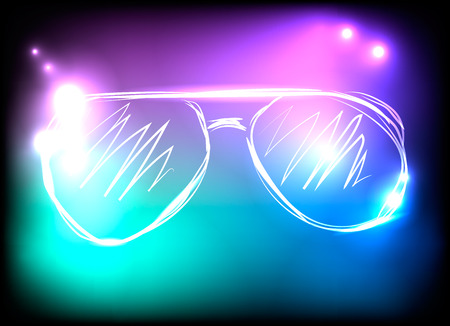 glow in the dark: Colorful neon sunglasses on blue, purple and black background. Concept of rest, music, concerts, parties. Vector illustration