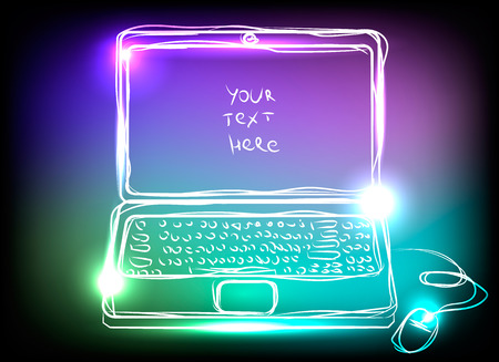 notebook computer: Colorful computer notebook with neon lights on black background Illustration