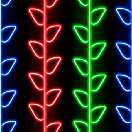 neon plant: Seamless pattern with blue, red and green neon branches on black background for your design Illustration