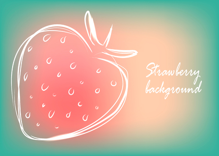 Background with cute strawberry in beautiful colors, vector illustration