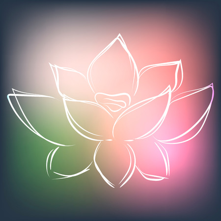 Background with lotus in modern interesting colors, vector illustration