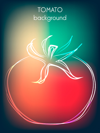 interesting: Background with tomato in modern interesting colors, vector illustration Illustration