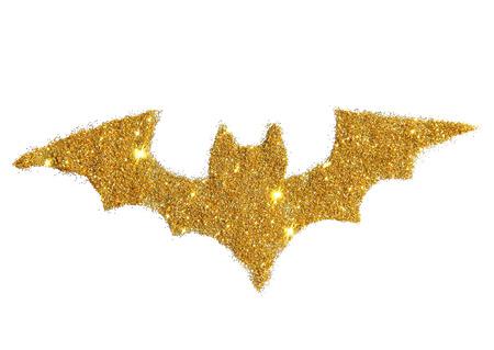 Abstract bat of golden glitter, festive Halloween symbol