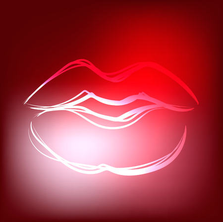 lips glow: Beautiful hand drawn outline of sexy red lips Illustration