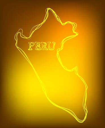 Hermosa mano mapa de contorno dibujado de Perú