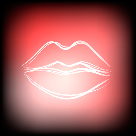 plump lips: Beautiful hand drawn outline of sexy pink lips