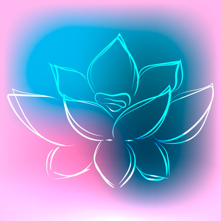 Background with outline lotus in beautiful colors illustration Illustration