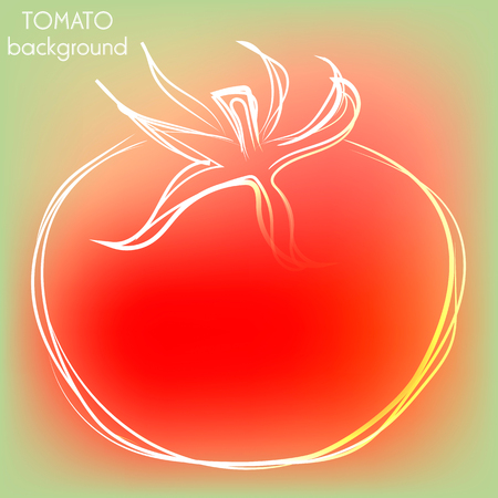 interesting: Background with outline tomato in modern interesting colors Illustration