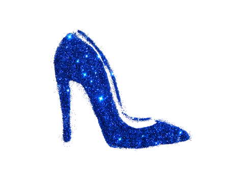 High heel shoe of blue glitter sparkle on white background Stock Photo