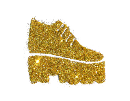 Fashionable tractor sole boot on high heel of golden glitter sparkle on white background Stock Photo