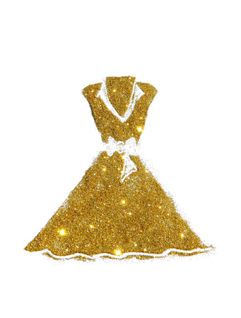 Dress with collar and bow at the waist of golden glitter on white background
