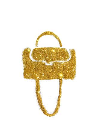 Womens handbag of golden glitter on white background
